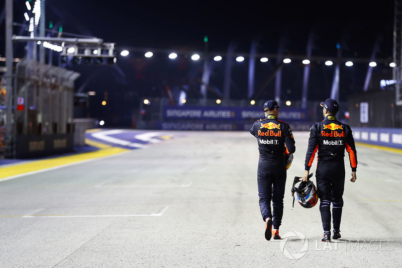 Second place Max Verstappen, Red Bull Racing, third place Daniel Ricciardo, Red Bull Racing heading