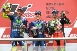 Podium: second place Valentino Rossi, Yamaha Factory Racing, race winner Maverick Viñales, Yamaha Factory Racing, third place Cal Crutchlow, Team LCR Honda