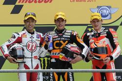 Podio: segundo lugar Yuki Takahashi, ganador de la carrera Marc Márquez, tercer lugar Stefan Bradl