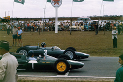 Graham Hill, BRM P57 and Jim Clark, Lotus 25 Climax
