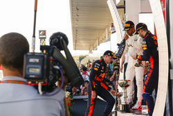 Max Verstappen, Red Bull, second place, Race winner Third place Lewis Hamilton, Mercedes AMG F1 Daniel Ricciardo, Red Bull Racing, on the podium