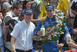 2016 Indianapolis 500 winner Alexander Rossi in Victory Lane at Indianapolis Motor Speedway with BorgWarner Chairman and CEO James Verrier follow his victory in the 100th Running of the Indy 500
