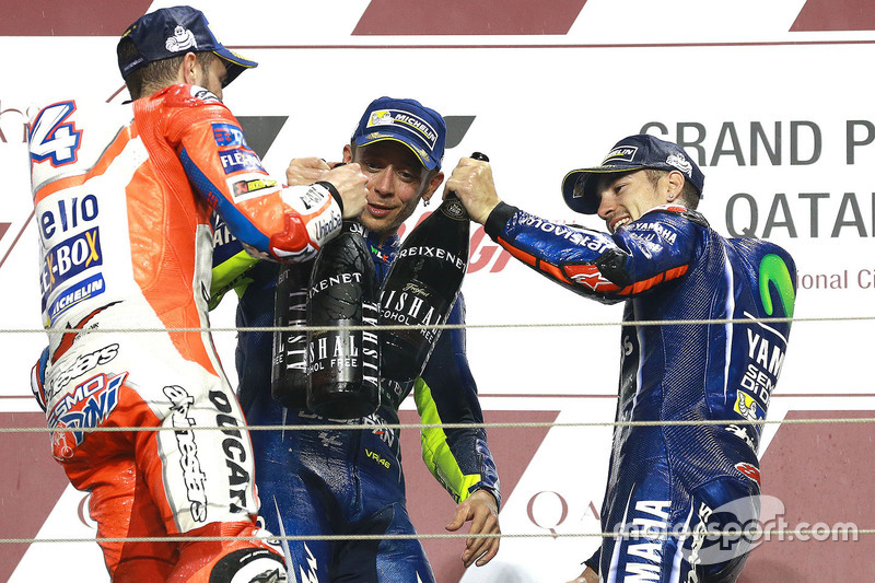 Podium: race winner Maverick Viñales, Yamaha Factory Racing, second place Andrea Dovizioso, Ducati Team, third place Valentino Rossi, Yamaha Factory Racing
