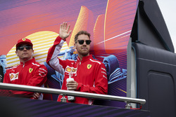 Sebastian Vettel, Ferrari and Kimi Raikkonen, Ferrari on the drivers parade