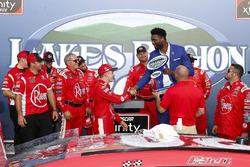 Christopher Bell, Joe Gibbs Racing, Toyota Camry Rheem and team celebrate in victory lane