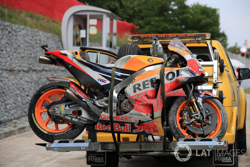 La moto accidentada de Marc Marquez, Repsol Honda Team
