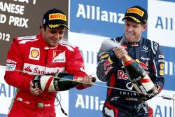 Podium: Felipe Massa, Ferrari, second place, Sebastian Vettel, Red Bull Racing, race winner