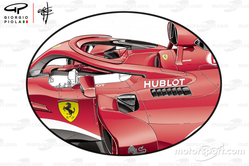 Ferrari SF71H sidepods, GP van Australië