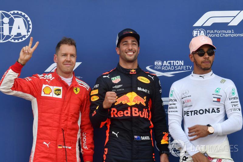 Sebastian Vettel, Ferrari, Daniel Ricciardo, Red Bull Racing y Lewis Hamilton, Mercedes-AMG F1