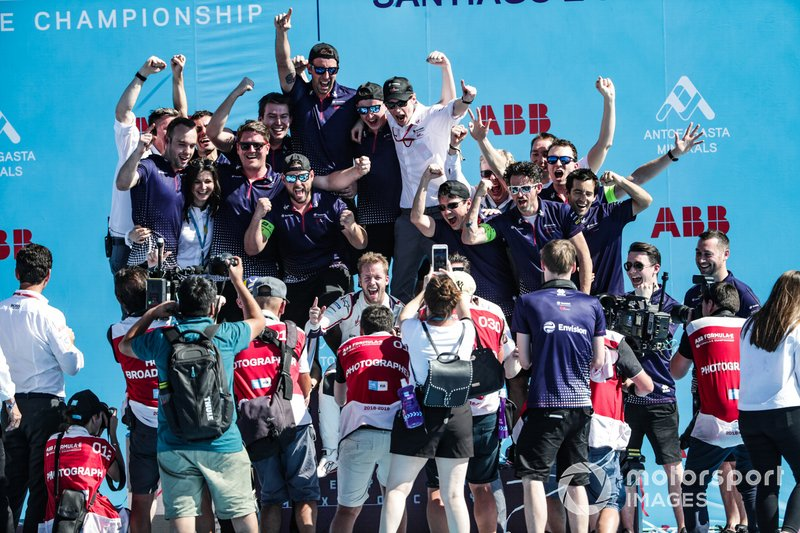 Sam Bird, Envision Virgin Racing, celebrates victory with the team on the podium