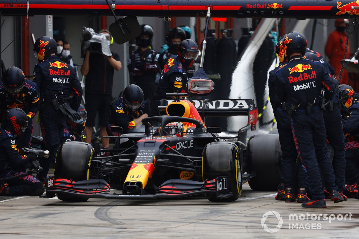 Max Verstappen, Red Bull Racing RB16B, leaves his pit box after a stop