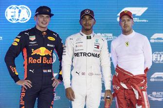 Top three Qualifiers, Max Verstappen, Red Bull Racing, pole man Lewis Hamilton, Mercedes AMG F1, and third placed Sebastian Vettel, Ferrari