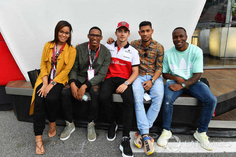 Charles Leclerc, Alfa Romeo Sauber F1 Team with South African Athletes Ruswahl Samaai, Wayde van Niekerk and Akani Simbine