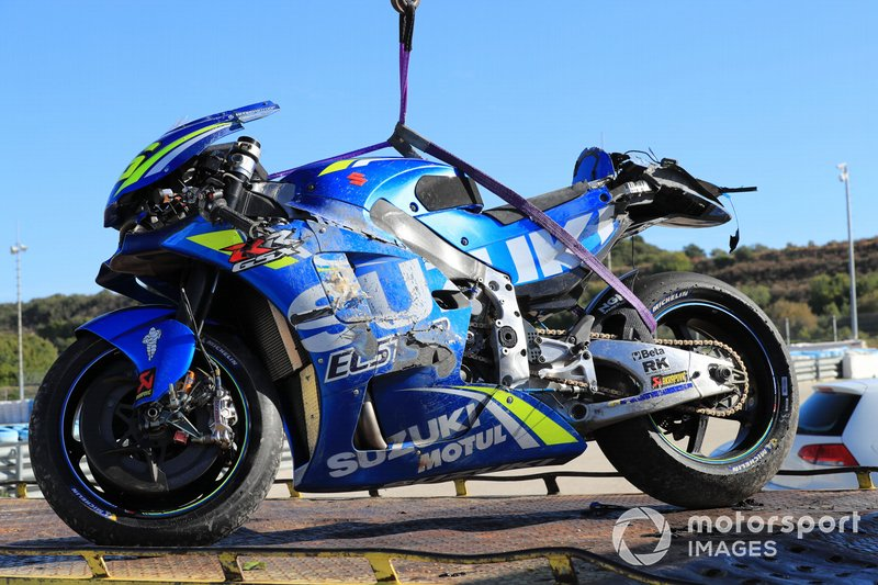 Crashed bike of Joan Mir, Team Suzuki ECStar