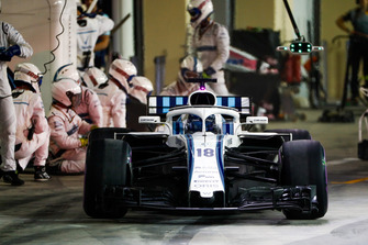 Lance Stroll, Williams FW41, leaves his pit box after a stop
