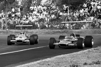 Graham Hill, Lotus 49B Ford, Jackie Stewart, Matra MS10 Ford
