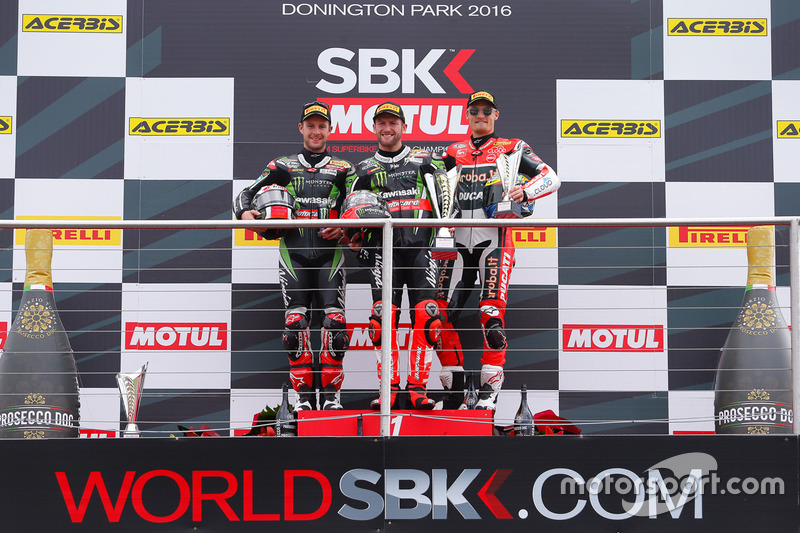 Podium : Sieger Tom Sykes, Kawasaki Racing Team, 2. Jonathan Rea, Kawasaki Racing Team, 3. Chaz Davies, Aruba.it Racing - Ducati Team