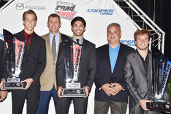 USF2000 champion Oliver Askew, Indy Lights champion Kyle Kaiser, Pro Mazda champion Victor Franzoni, John Doonan