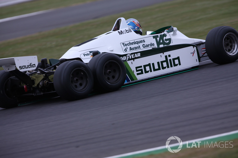 Paul di Resta, in the 1982 Williams FW08B Cosworth 6 wheeled F1 car