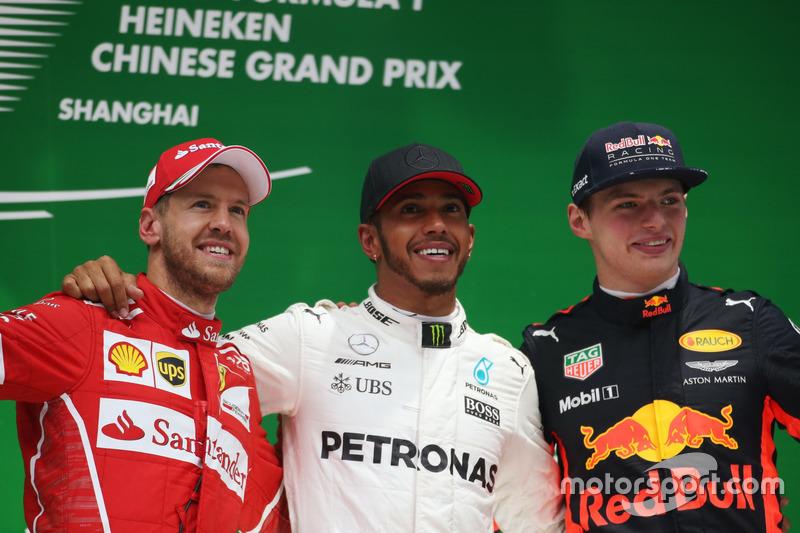 Podium: Sebastian Vettel, Ferrari; Lewis Hamilton, Mercedes AMG; Max Verstappen, Red Bull Racing