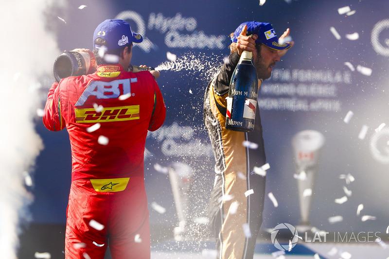 Lucas di Grassi, ABT Schaeffler Audi Sport, y Jean-Eric Vergne, Techeetah, celebra en el podio