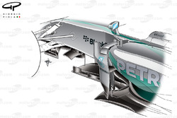 Mercedes W05 chassis and sidepod detail