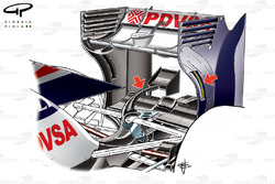 Williams FW34 rear wing, tyre wake slot in leading egde (arrow) and monkey seat on single stalk above suspension keel