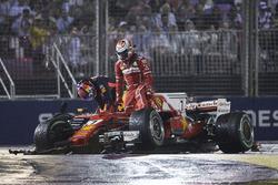 Kimi Raikkonen, Ferrari, Max Verstappen, Red Bull, after the crash