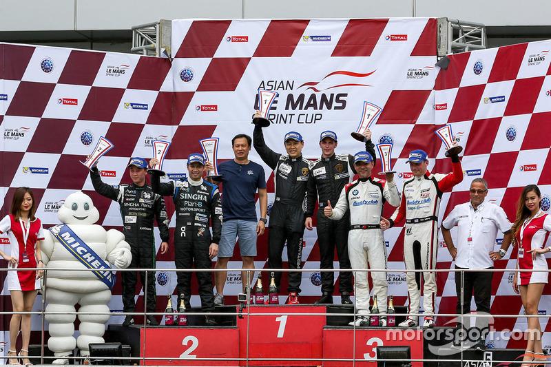Podium GT: winners #98 Arrows Racing Lamborghini Gallardo GT3 FL2: Maxx Ebenal, Michael Choi, second place #59 Singha Plan B Motorsport Audi R8 LMS GT3: Bhurit Bhirombhakdi, Kantasak Kushiri, third place #92 Team AAI BMW Z4 GT3: Chi Huang, Ollie Millroy