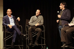 Helio Castroneves and Tony Kanaan celebrate their 20 years in IndyCar with Dario Franchitti