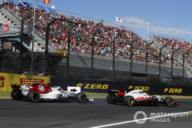 Kevin Magnussen, Haas F1 Team VF-18, Charles Leclerc, Sauber C37