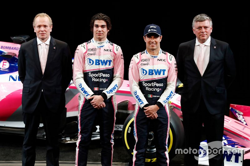 Andrew Green, direttore tecnico, Racing Point F1 Team, Lance Stroll, Racing Point F1 Team, Sergio Perez, Racing Point F1 Team e Otmar Szafnauer, Team Principal, Racing Point F1