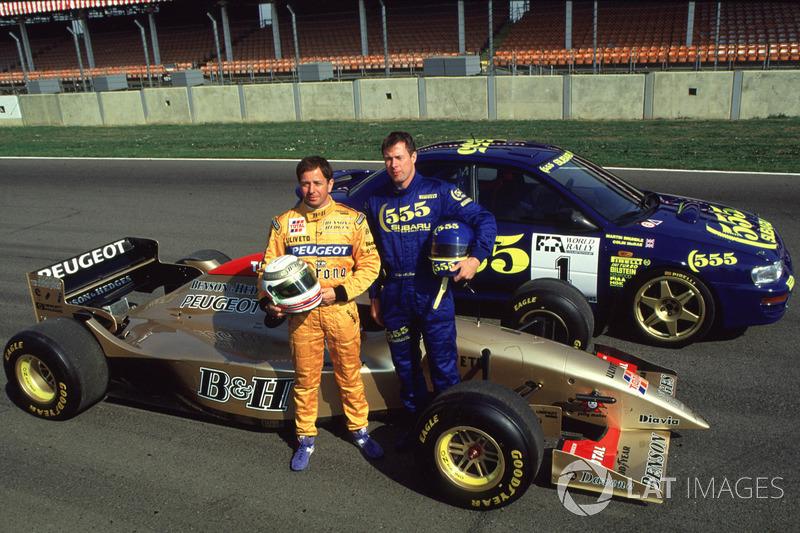 Colin McRae ve Martin Brundle araş değiştirmesi: Jordan 196-Peugeot ve Subaru WRC aracı