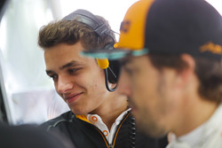 Lando Norris, McLaren, and Fernando Alonso, McLaren