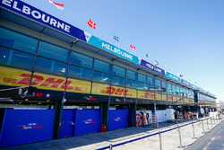 Scuderia Toro Rosso and Haas F1 Team garages