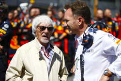 Bernie Ecclestone with Christian Horner, Team Principal, Red Bull Racing