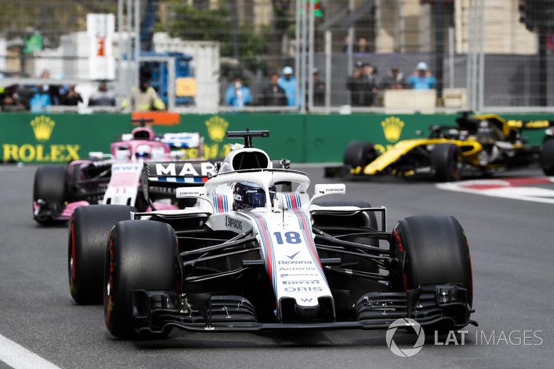 Lance Stroll, Williams FW41 Mercedes, Sergio Perez, Force India VJM11 Mercedes, Nico Hulkenberg, Renault Sport F1 Team R.S. 18
