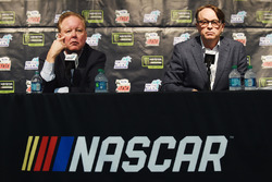 CEO and Chairman of NASCAR Brian France, NASCAR President Brent Dewar during a press conference