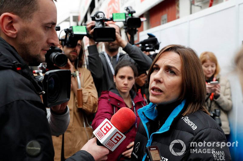 Claire Williams, Williams Deputy Team Principal talks with the media