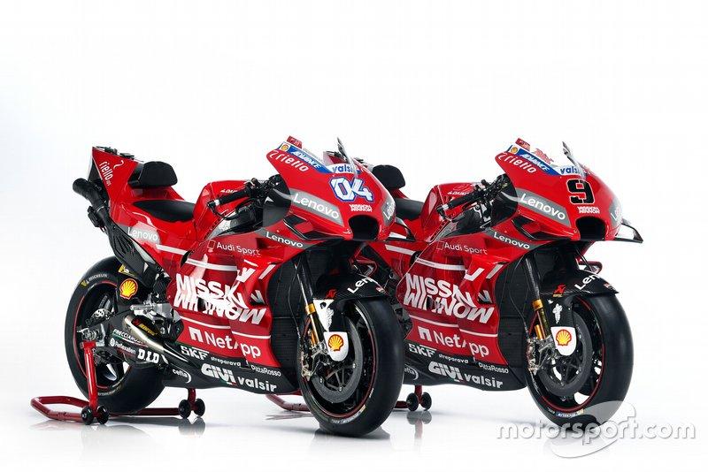 Bikes von Andrea Dovizioso, Ducati Team, und Danilo Petrucci, Ducati Team, für die MotoGP-Saison 2019