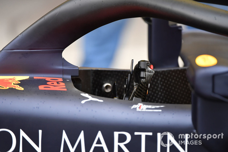 Drivers cockpit and halo on Red Bull Racing RB14