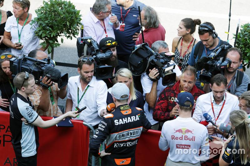 Nico Hulkenberg, Sahara Force India F1 ve Max Verstappen, Red Bull Racing medya ile
