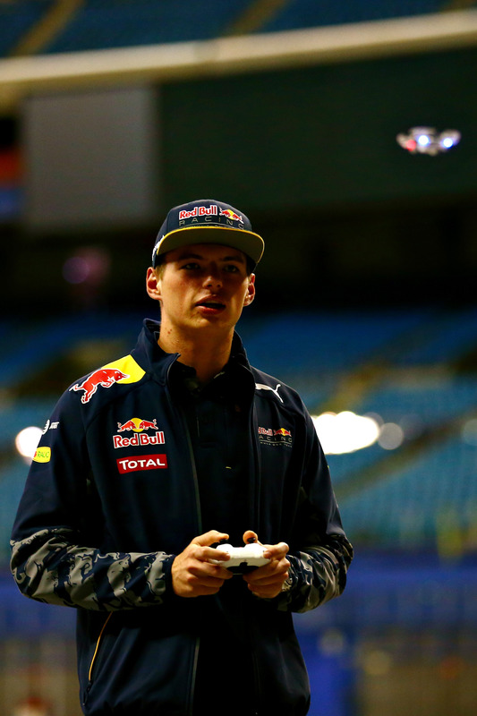 Max Verstappen, Red Bull Racing races a drone