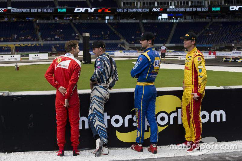 Sebastian Vettel, Scott Speed, Alexander Rossi y Ryan Hunter-Reay, talk