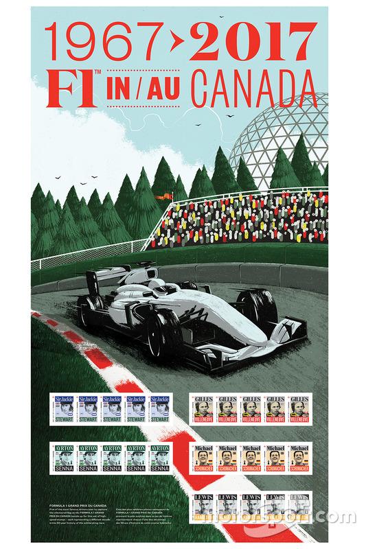 Sello de correos de Sir Jackie Stewart, Gilles Villeneuve, Ayrton Senna, Michael Schumacher, Lewis Hamilton