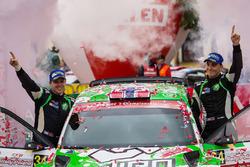 WRC2 podium: Ole Christian Veiby, Stig Rune Skjaermoen, Skoda Fabia R5