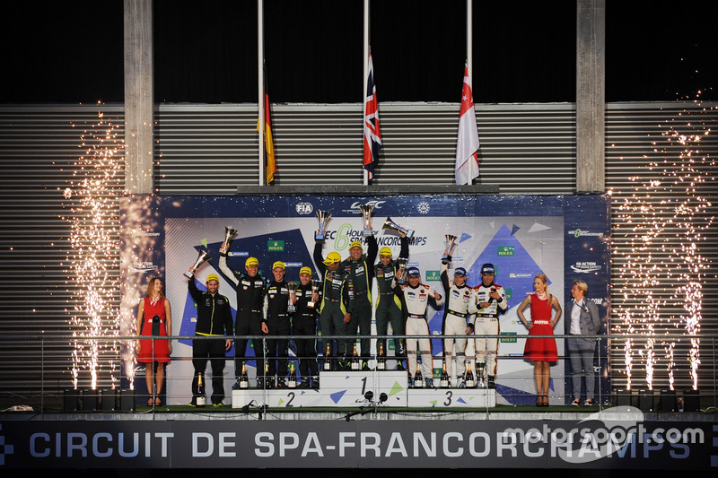 Podium LMGTE Am: first place Paul Dalla Lana, Pedro Lamy, Mathias Lauda, Aston Martin Racing, second place Christian Ried, Matteo Cairoli, Marvin Dienst, Dempsey Proton Competition, third place Mok Weng Sun, Matt Griffin, Keita Sawa, Clearwater Racing