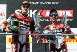 Podium: segundo lugar, Chaz Davies, Ducati Team, tercero, Marco Melandri, Ducati Team