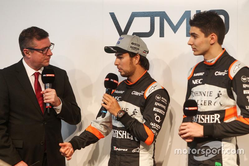 David Croft mit Sergio Perez and Esteban Ocon at the Sahara Force India launch
