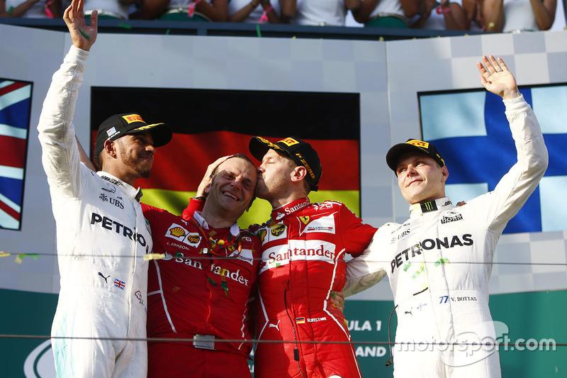 Podium: winner Sebastian Vettel, Ferrari, second place Lewis Hamilton, Mercedes AMG F1, third place Valtteri Bottas, Mercedes AMG F1, Luigi Fraboni, Head of Engine Trackside Operations, Ferrari